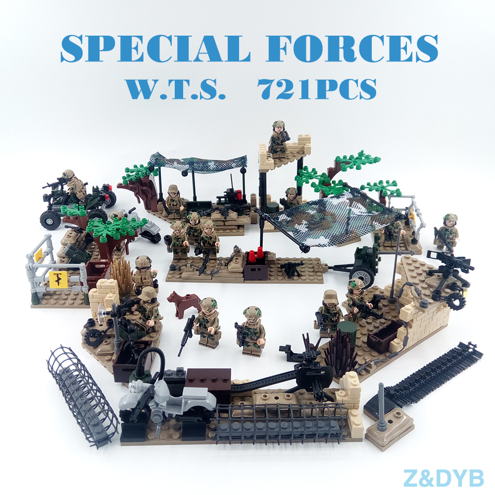 721PCS Military Building Figures Scene Series Soldier Army Forces Sets Kits Swat Weapon Model Block Brick Legoed Children Toy