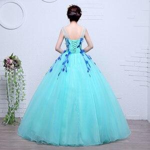 Image 2 - 100% Real Photo Fashion Organza Colored Wedding Dresses 2020 Spring Blue princess For Paty Studio Photo Vestido De Noiva Gown