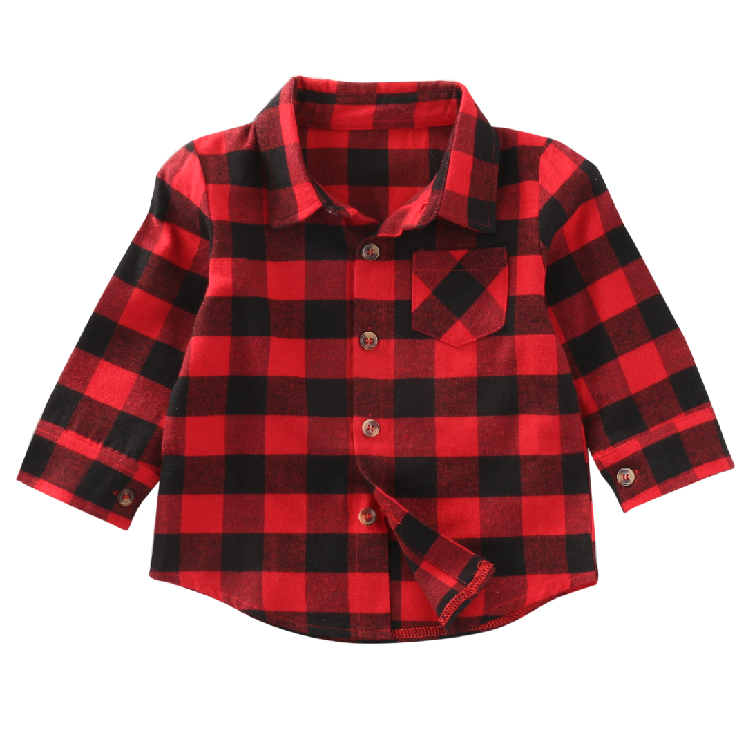 2017 Baby Kinder Jungen Mädchen Langarm-shirt Plaids Red Kontrollen Langen Ärmeln Tops Bluse Kleidung Outfit 1-7y Ss FüR Schnellen Versand