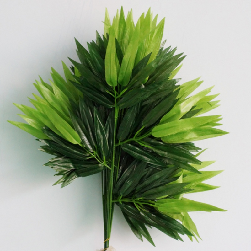 5pcs Branches Green Artificial Bamboo Leaves Silk Cloth Artificial Plants For Wedding Decoration Home Office Decorative Leaves