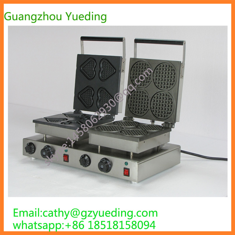 Commercial Love shape and round shape double head waffle making machine directly factory price commercial electric double head egg waffle maker for round waffle and rectangle waffle