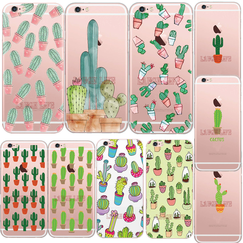 Hot New Cactus Case for iPhone SE 5S 6 7 6S 6Plus Colorful Cartoon illustration Prickly Pear Soft Silicone TPU Phone Back Cover