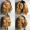 1b Dark roots blonde hair cheap ombre human hair wig 1b/27 Brazilian lace front wigs/glueless full lace wigs for black women
