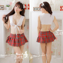 Top+Plaid Skirt School Cosplay Costume For Women Sex Game Uniform Open Front Night Student Baby Doll sexy uniform E178
