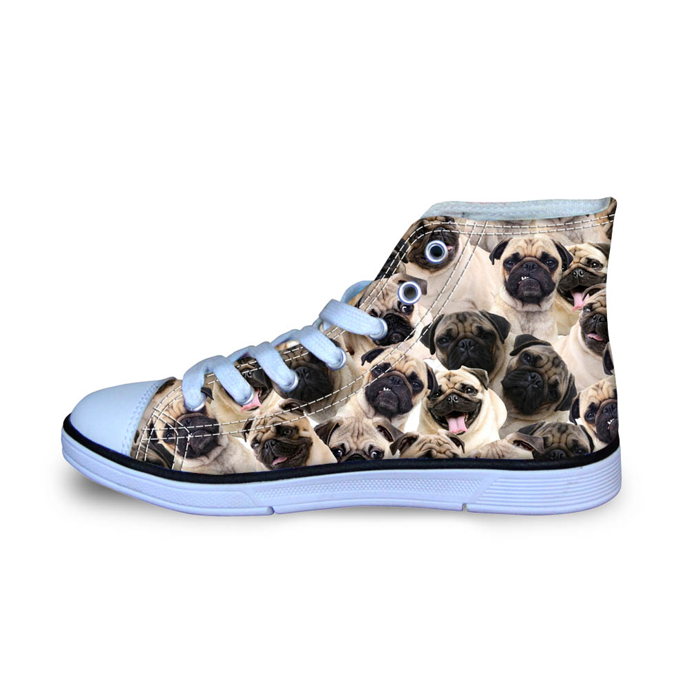 Bulldog Pets Printed Canvas Shoes for Man Autumn High Top Sneakers for School Students Ultralight Loafers for Boys Size 29-34
