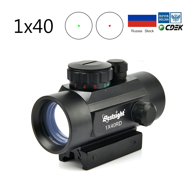 1X40 Оптика прицел красный зеленый точка прицел с подсветкой дальномер Охота для охоты с 11/20 мм Вивера optics rifle scope scope reddot sight   АлиЭкспресс