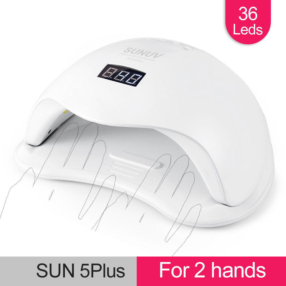 Image 2 - SUNUV SUN5 PLUS 48W Nail Lamp UV LED Light Nail Dryer sun5plus Big Size for Dual Hands Gels Auto Sensor Bottom Tray LCD Display-in Nail Dryers from Beauty & Health