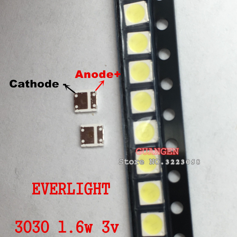 500pcsFOR EVERLIGHT LED 3030 lamp beads 1W LCD TV Backlight Lamp beads 3V cool white With Zener Pressure the led clothing lights 3v 10 beads with magnet
