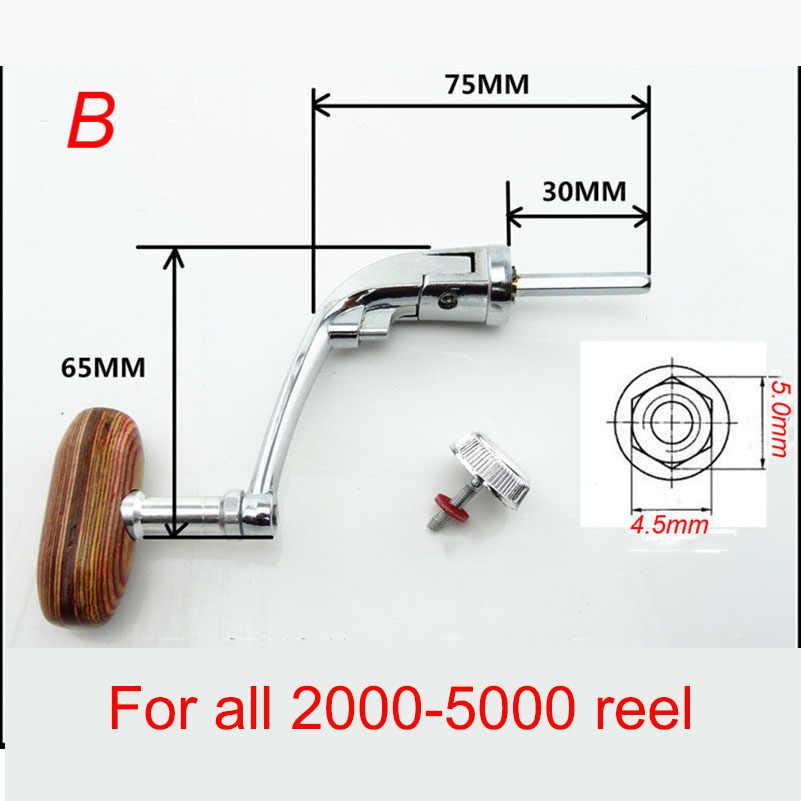 YUYU en métal Filature pêche moulinet poignée pour 200 500 1000 2000 3000 4000 5000 6000 7000 pliable en bois moulinet poignée