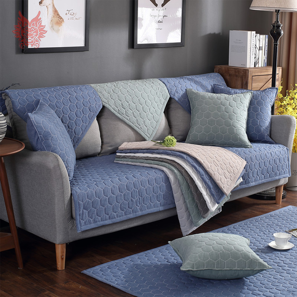 Modern Style Blue Green Plaid Quilted Cotton Sofa Cover