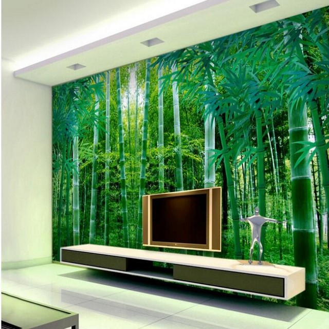 US $9 3 38% OFF|beibehang Custom large scale murals green bamboo TV wall  wallpaper non woven wallpaper papel de parede para quarto-in Wallpapers  from