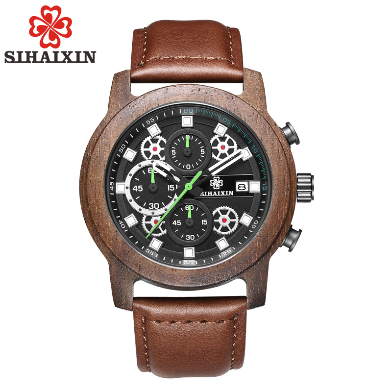 SIHAIXIN Wooden Watch Male Top Brand Luxury Men's Hand Watch Waterproof Quartz Leather Chronograph Clock Man 2018 New Arrival new chenxi brand dial male clock hours hand date black leather straps mens quartz wrist watch 3atm waterproof wristwatches man