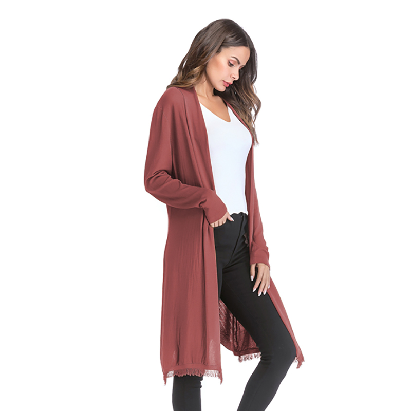 Kostlich 2018 Women Solid Color Tassel Long Knitted Cardigans Casual Open Stitch V Neck Full Sleeves Cardigans M-XL (10)