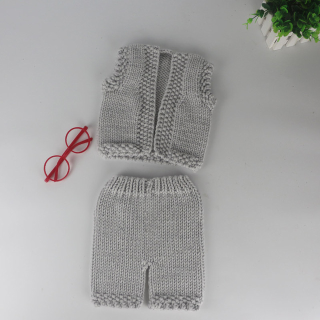 2016 gray sleeveless garment and trousers for Newborn photo props infant baby knit costume crochet accessories photography prop