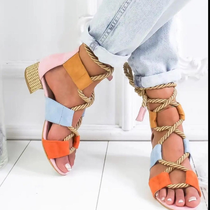 ORANGE Bohemian Women Sandals Mid Heel Pointed Fish Mouth Shoes Lace Up Platform Sandals