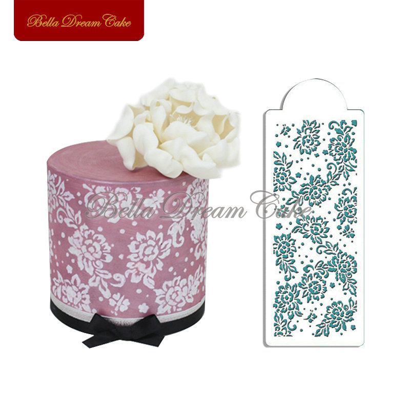 Peony Lace Stencil For Cake Birthday Cake Side Stencil For Border Decoration Cookie Stencil Tools Wedding Cake Decorating ST-334