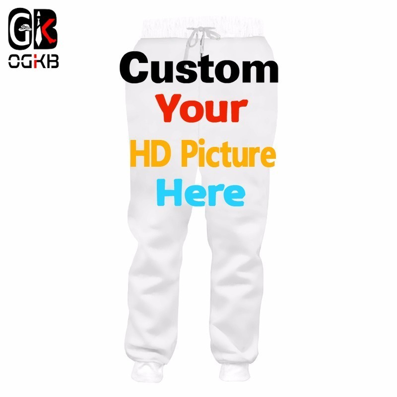 OGKB Customized Sweat Pants Men's 3D Print Your Own Design Custom Personalized Sweatpants Male Elastic Waist Jogger Dropshipping