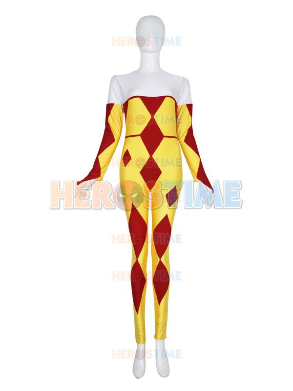 red and yellow Harlequin Inspired Superhero Costume Custom Unitard Lycra Spandex Harlequin Costume