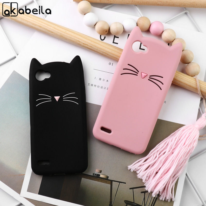 Silicone Soft Phone Case For LG G6 G7 Q7 Q6 Q Stylo 4 Cute Beard Cat Ear Cartoon Cases For LG K4 K8 K10 2017 Protective Covers