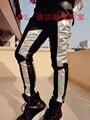 2016 оригинальный дизайн моды для мужчин серебро черный красочные лазерная краситель матч тонкий свет певец DJ снизу кожаные длинные брюки