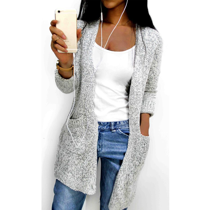 Hot 2018 Autumn Winter Women Long Sleeve Loose Knitting Soft Cardigan Pocket Sweater Cadigan Womens Female Pull Femme Cardigans