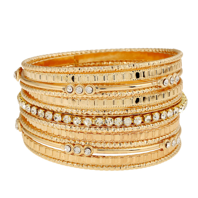 Fashion 2018 Multilayer gold sliver bracelets bangles for women New brand Rrhinestone jewelry femininas indian bangles
