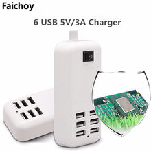 6 cargador USB enchufe UE/EE. UU. 6 puertos USB pared múltiple 20W 3A 1,5 M adaptador inteligente móvil teléfono tableta dispositivo de carga para iPhone iPad(China)