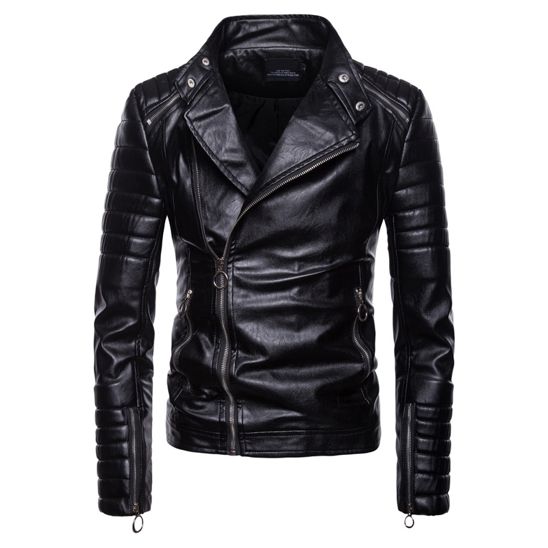 Oblique Zipper design Leather Jacket men High quality PU leather Autumn Winter Outwear Coats male Plus size M-5XL Biker Jackets