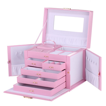 Pink Large Jewelry Box Velvet Organizer