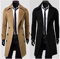 2017 New Fashion Trend Of Youth Style Small Pure Solid Color Casual Men Long Wool Coat Double Breasted Lapel Windbreaker