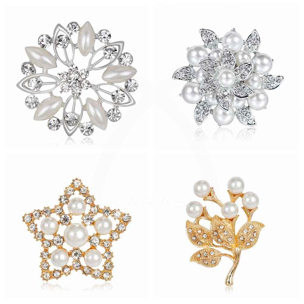 Klasik Ukuran Kecil Bulat Desain Berlian Imitasi Simulasi Mutiara Bunga Lima Menunjuk Bintang Bros untuk Wanita Pin Perhiasan Aksesoris