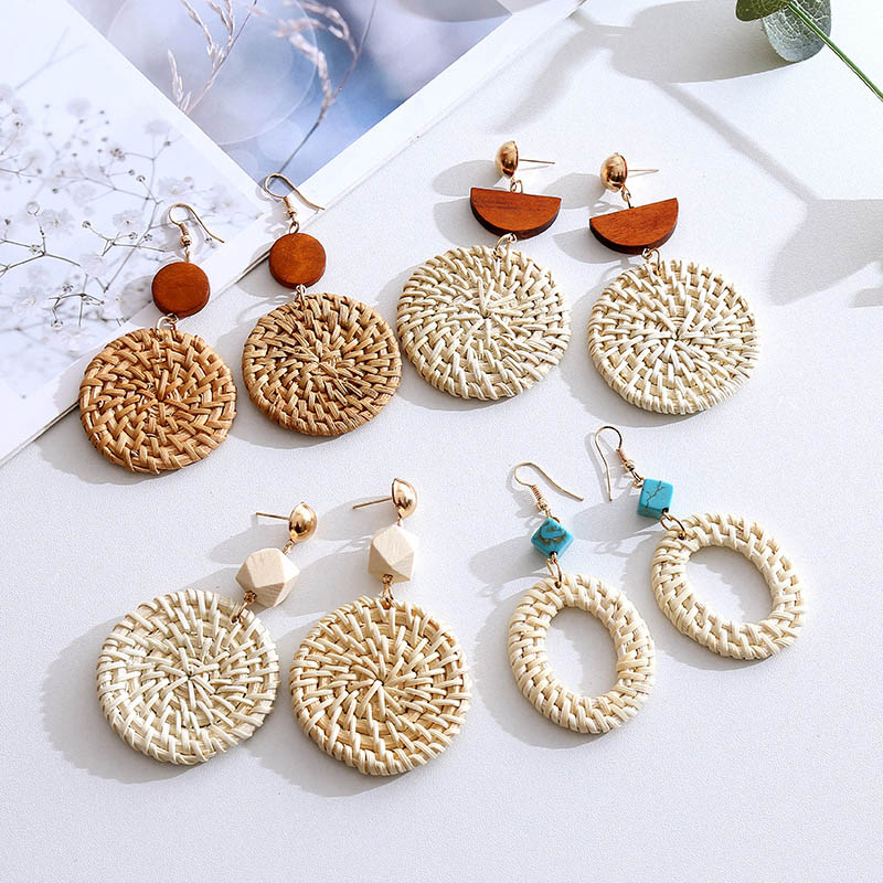 Fashion Bohemian Handmade Wooden Straw Woven Vine Rattan Knit Drop Earrings For Women 2019 Boho Round Geometric Long Earring