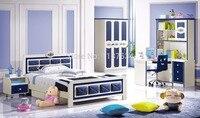 6622# Factory wholesale price Wooden furniture set colorful bedroom furniture set bed wardrobe and desk bedroom furniture set