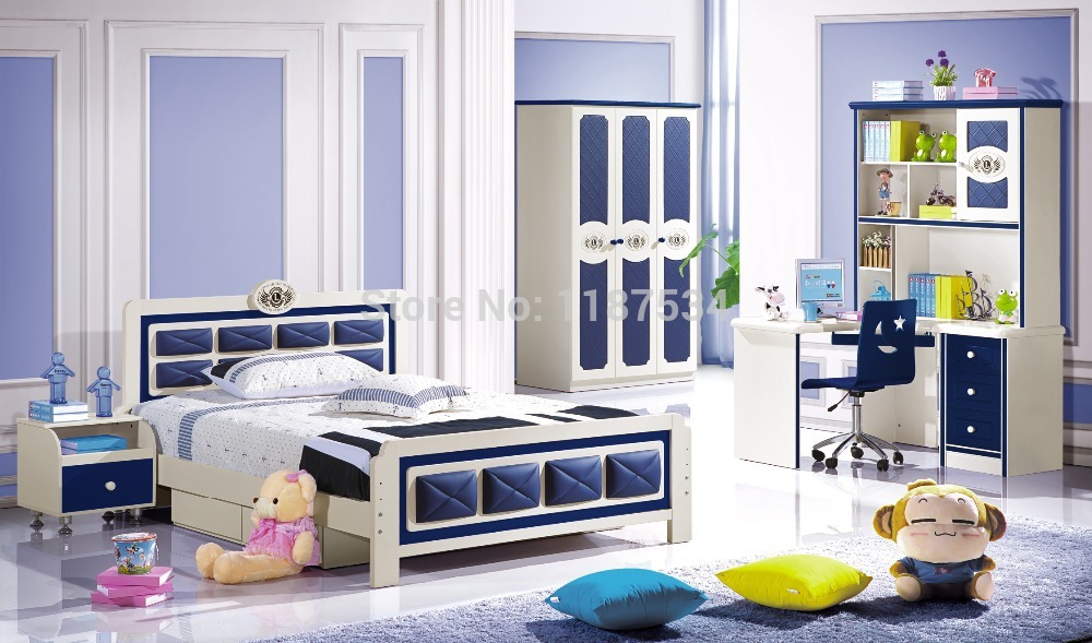 6622 Factory Wholesale Price Wooden Furniture Set Colorful Bedroom Furniture Set Bed Wardrobe