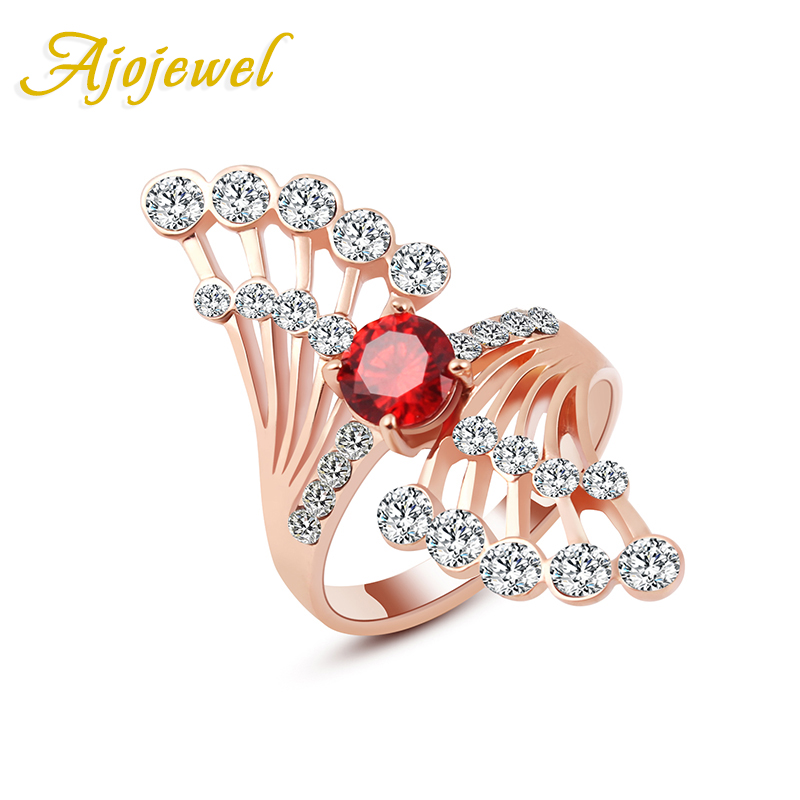 Ajojewel # 6-9 New Trendy Rose Gold Gold զարդեր AAA Red / Clear Crystal Angel- ի թևի օղակ կանանց համար