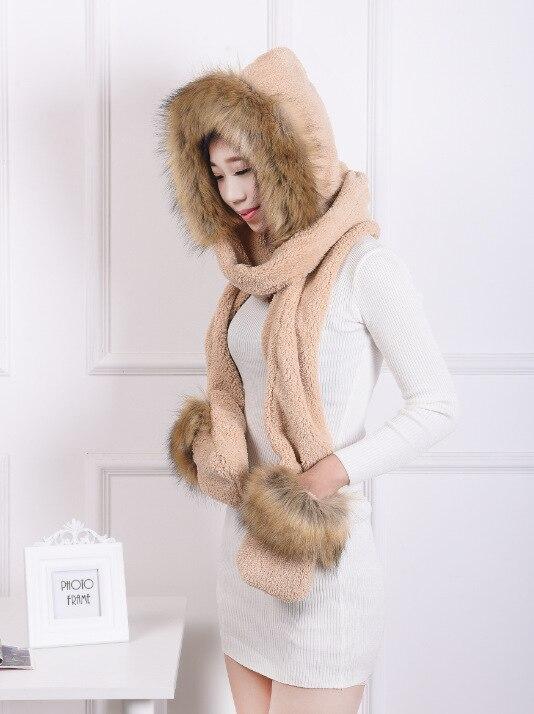 [Dexing] Faux Fur Hood Animal Hat Ear Long Scarf gloves Fur Hood Hat With Paws   Beanie   Cap Winter Hat for women