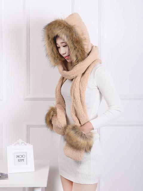 [Dexing] russian women faux fur capucha sombrero animal del oído bufanda guantes largos Capucha de piel Sombrero Con Patas Beanie Cap Sombrero de Invierno para las mujeres