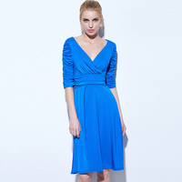 Tanpell V Neck Cocktail Dress Half Sleeves Pleats Knee Length Party Dress Women A Line Cocktail Dress
