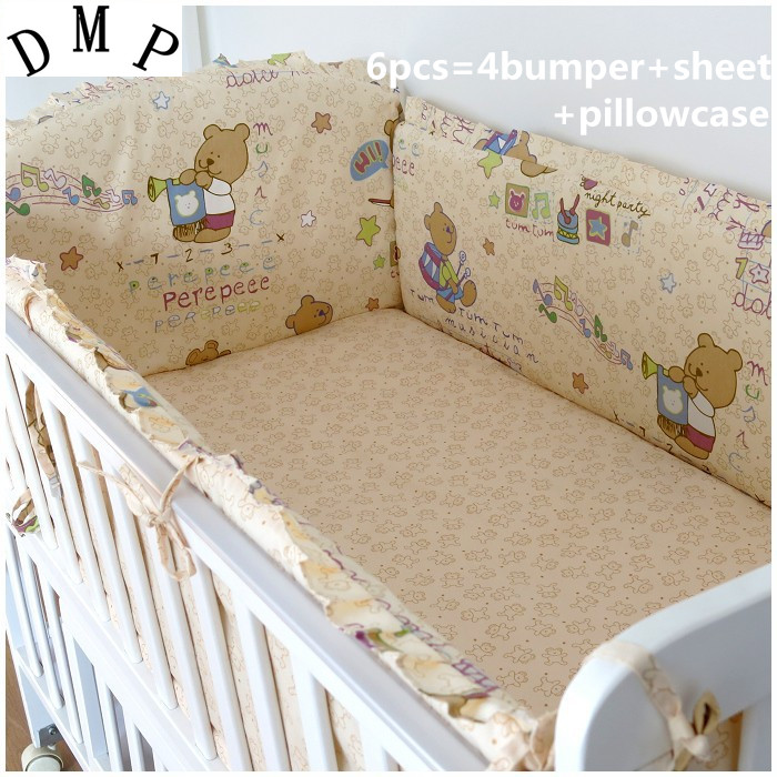 Promotion! 6pcs Bear Baby bedding set crib bedding set 100% cotton baby bedclothes (bumpers+sheet+pillow cover) promotion 6pcs bear crib bedding set 100