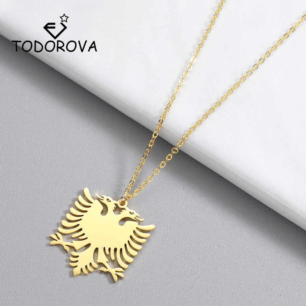 Todorova Albania Eagle naszyjnik herb dwugłowy naszyjnik z orłem etniczne prezenty ze stali nierdzewnej dla kobiet mężczyzn