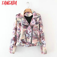 Tangada Women Floral Print Faux Leather Jackets Turn-Down Collar Punk Motorcycle Ladies Coat Zipper With Belt Jacket YD45