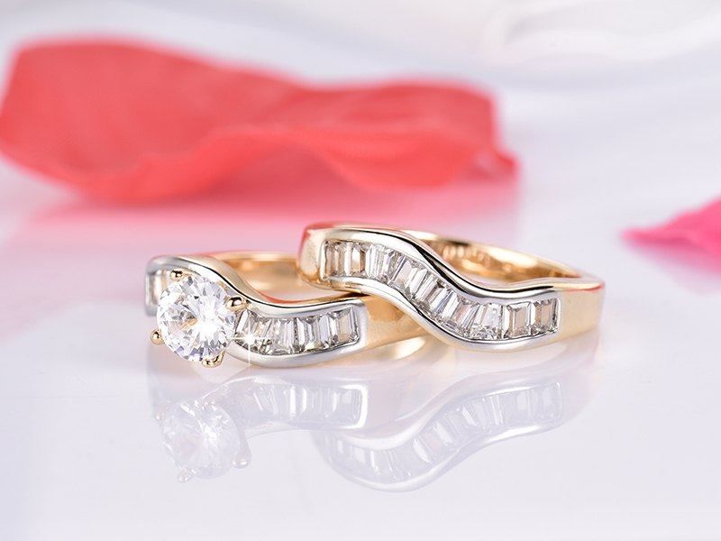 GULICX Trendy Austrian Crystal Ring Set Sterling Gold-color CZ Crystal Wedding Engagement Finger Ring Set For Women Anillos