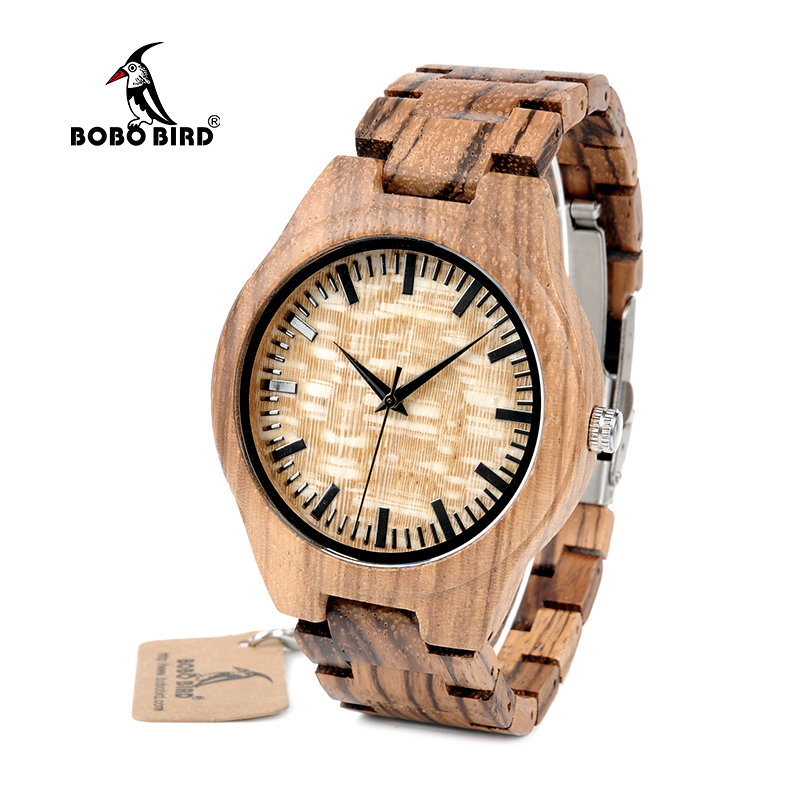 BOBO BIRD WG23 Mens Designer Handmade Wood Wristwatches Full Natural Zabra Wooden Band Quartz Watch With