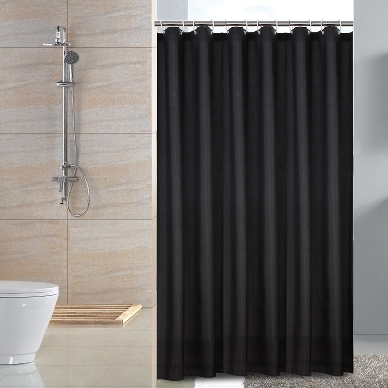 Hotel Fabric Small Size Shower Curtain Waterproof And Mildew Free Bath Curtains Heavy Weight Black