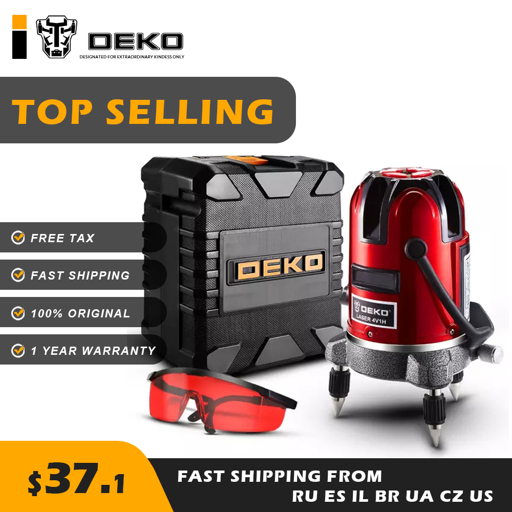 DEKO LL5 Series 5 Line 6 Points Red Laser Level BMC Box Horizontal Vertical 360 Intelligent