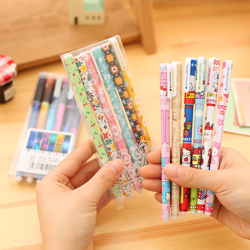 6 Colors/Box 0.38mm Korea Cartoon Gel Pens Kawaii Stationery School Children Drawing Toys Set For Kids Gifts Cute Pen Supplies 5packs lot 10 colors new cute cartoon colored gel pen set kawaii stationery gift office