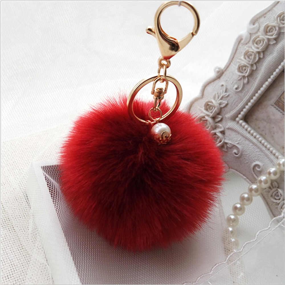 1 cái Cô Gái Phụ Nữ Dễ Thương Mềm Bóng Sang Trọng Mặt Dây Chuyền Keychain Xe Ví Túi Vòng Chìa Khóa