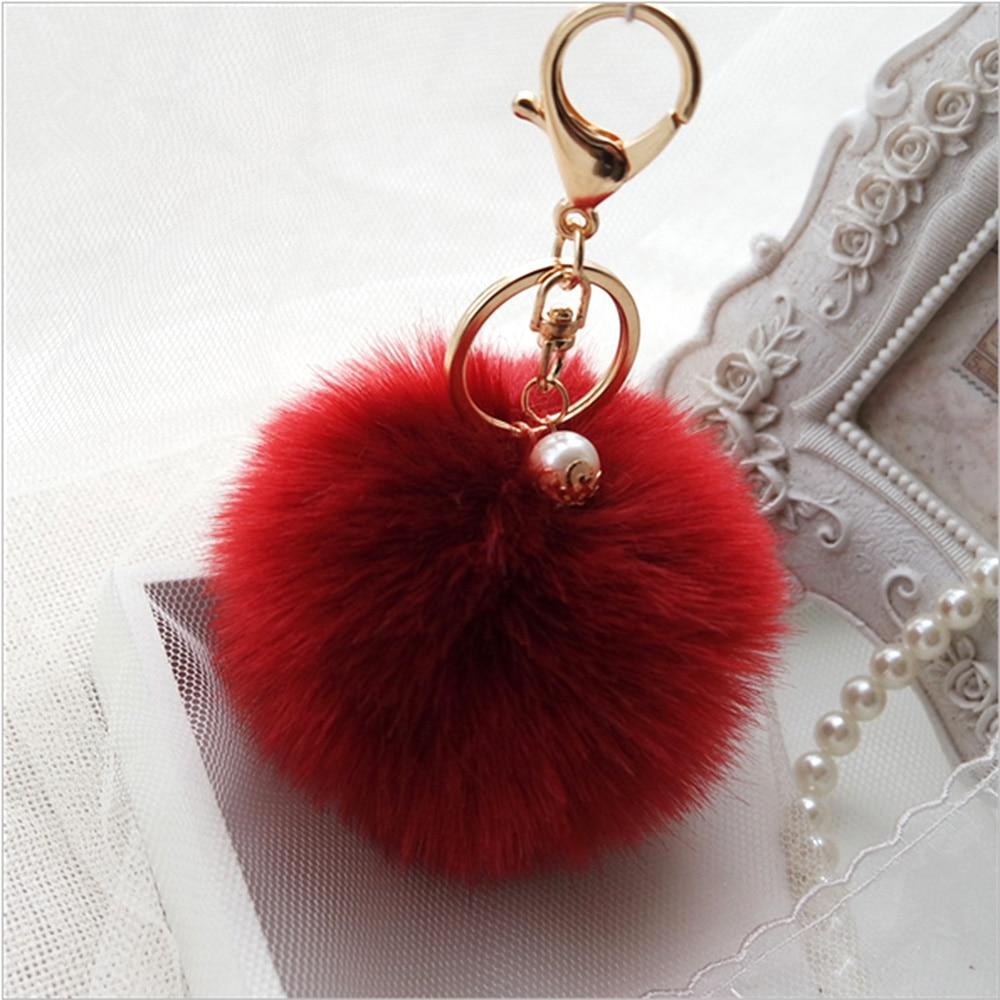 2019 Latest Design 1pc Girl Women Cute Soft Plush Ball Pendant Keychain Car Purse Bag Key Ring Less Expensive