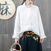 New Style Cotton Casual Embroidery Top Women Blouse Linen Loose long sleeved Spring Fashion Women Blouse