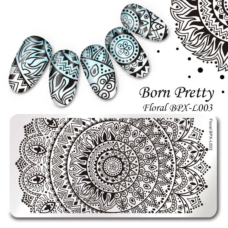 BORN PRETTY 12*6cm Rectangle Nail Stamping Template Floral Manicure Nail Art Image Plate BPX-L003